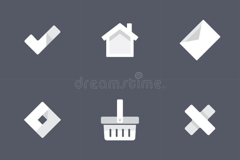 Άσπρα διανυσματικά εικονίδια για Apps διανυσματική απεικόνιση