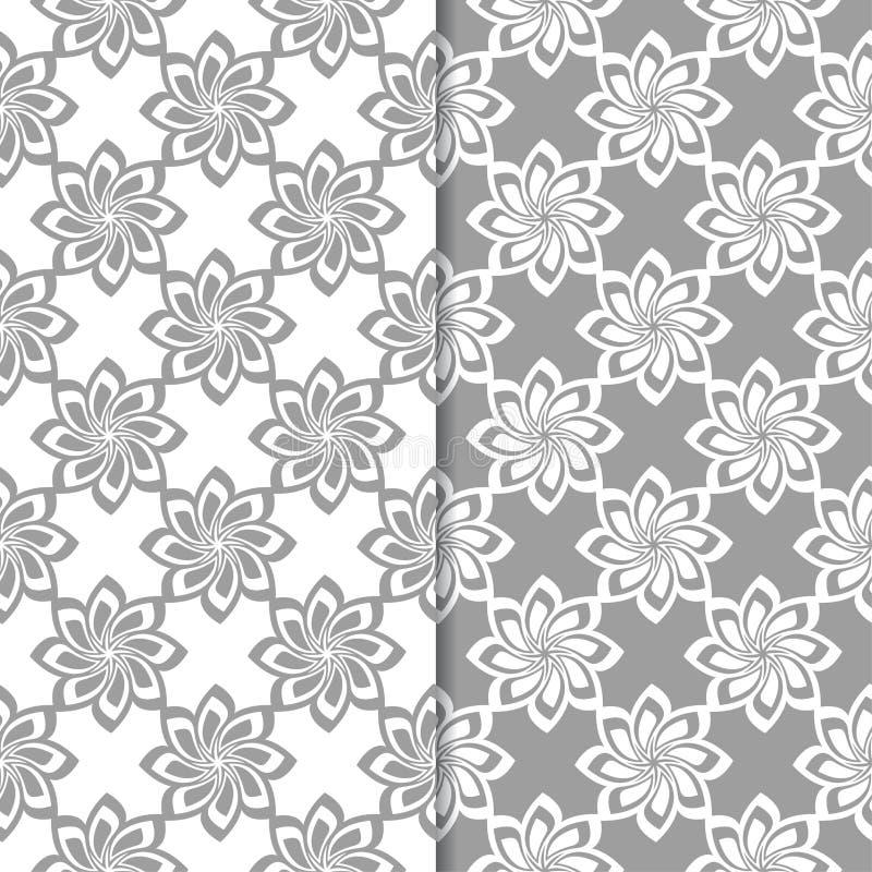 Άσπρα και γκρίζα floral υπόβαθρα άνευ ραφής σύνολο προτύπων διανυσματική απεικόνιση