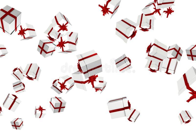 Άσπρα και κόκκινα χριστουγεννιάτικα δώρα απεικόνιση αποθεμάτων