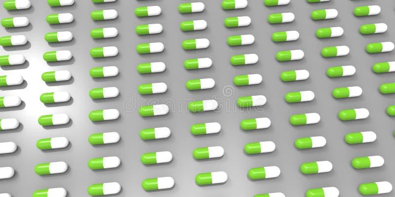 Άσπρα και πράσινα χάπια χρώματος στο γκρίζο γκρίζο υπόβαθρο ελεύθερη απεικόνιση δικαιώματος
