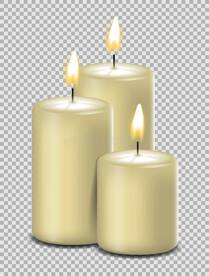 Άσπρα κεριά με απομονωμένο το φλόγα διάνυσμα διανυσματική απεικόνιση