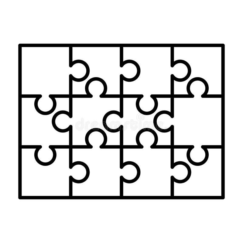 12 άσπρα κομμάτια γρίφων που τακτοποιούνται σε μια μορφή ορθογωνίων Πρότυπο γρίφων τορνευτικών πριονιών έτοιμο για την τυπωμένη ύ απεικόνιση αποθεμάτων