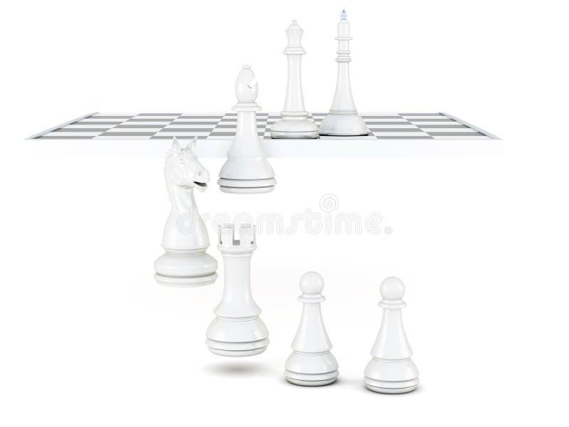 Άσπρα κομμάτια σκακιού που απομονώνονται σε ένα άσπρο υπόβαθρο τρισδιάστατη απόδοση απεικόνιση αποθεμάτων