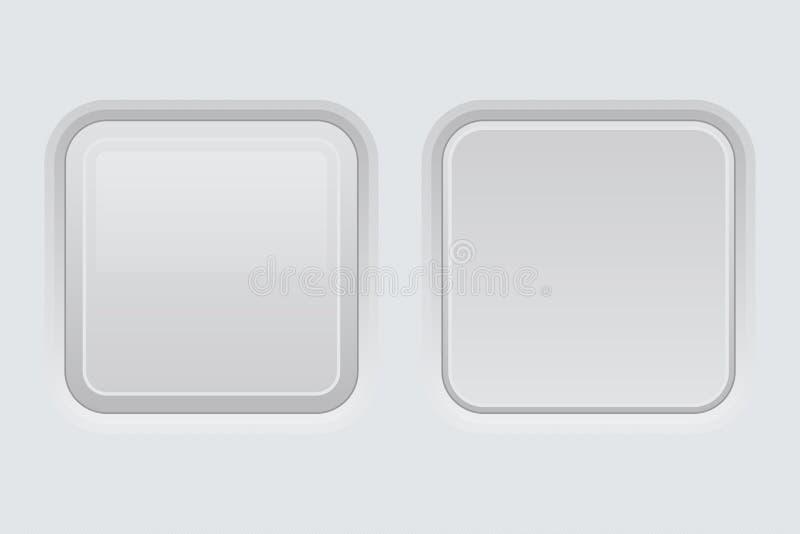 Άσπρα κουμπιά διεπαφών Ιστού Τετραγωνικά τρισδιάστατα εικονίδια διανυσματική απεικόνιση