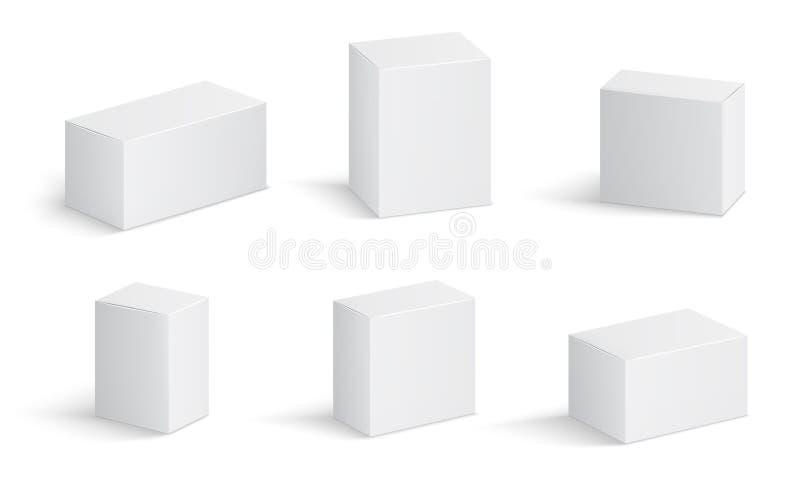 Άσπρα κουτιά από χαρτόνι Κενή συσκευασία ιατρικής στα διαφορετικά μεγέθη Ιατρικά τρισδιάστατα απομονωμένα διάνυσμα πρότυπα κιβωτί διανυσματική απεικόνιση