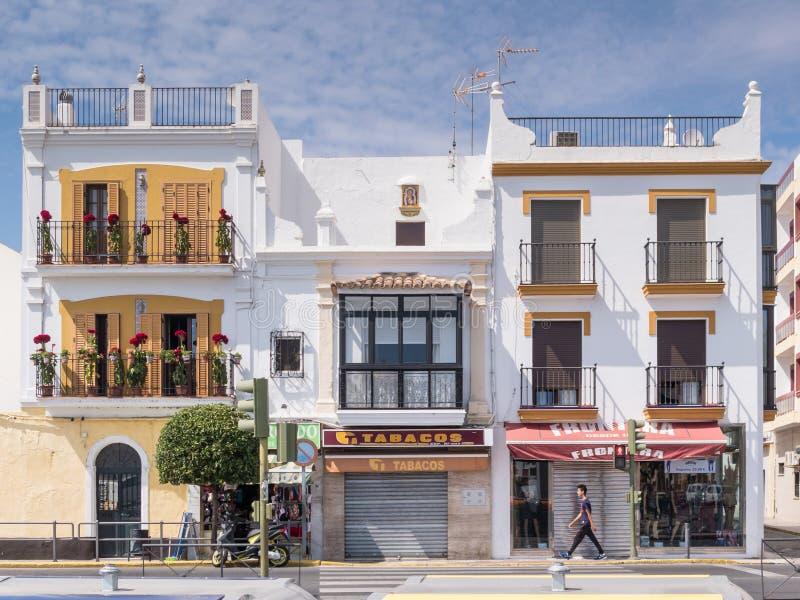 Άσπρα κτήρια Ayamonte, Ανδαλουσία στοκ φωτογραφίες