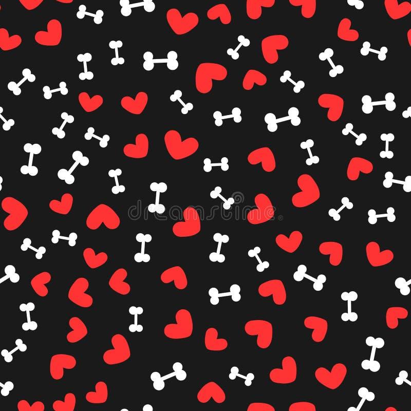 Άσπρα κόκκαλα για τα σκυλιά και τις κόκκινες καρδιές που διασκορπίζονται τυχαία στο μαύρο υπόβαθρο πρότυπο άνευ ραφής ελεύθερη απεικόνιση δικαιώματος