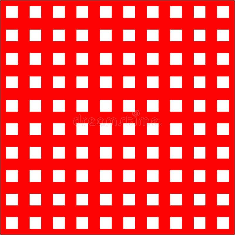 Άσπρα κλουβιά στο κόκκινο άνευ ραφής σχέδιο υποβάθρου απεικόνιση αποθεμάτων