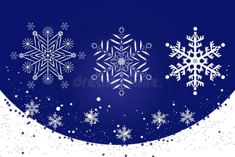 Άσπρα λεπτά snowflakes σε ένα μπλε σύνολο υποβάθρου διανυσματική απεικόνιση