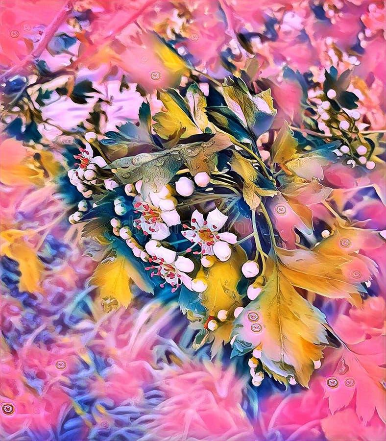 Άσπρα λουλούδια του κραταίγου την άνοιξη στον κήπο στοκ φωτογραφίες