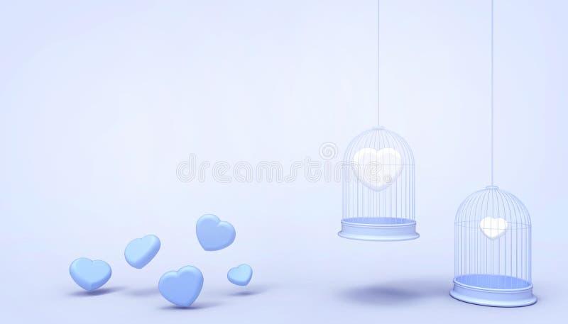 Άσπρα μπαλόνια καρδιών που παγιδεύονται στο κλουβί επιπλεόντων σωμάτων και την ελάχιστη μπλε ομάδα καρδιών, έννοια αγάπης - ύφος  διανυσματική απεικόνιση
