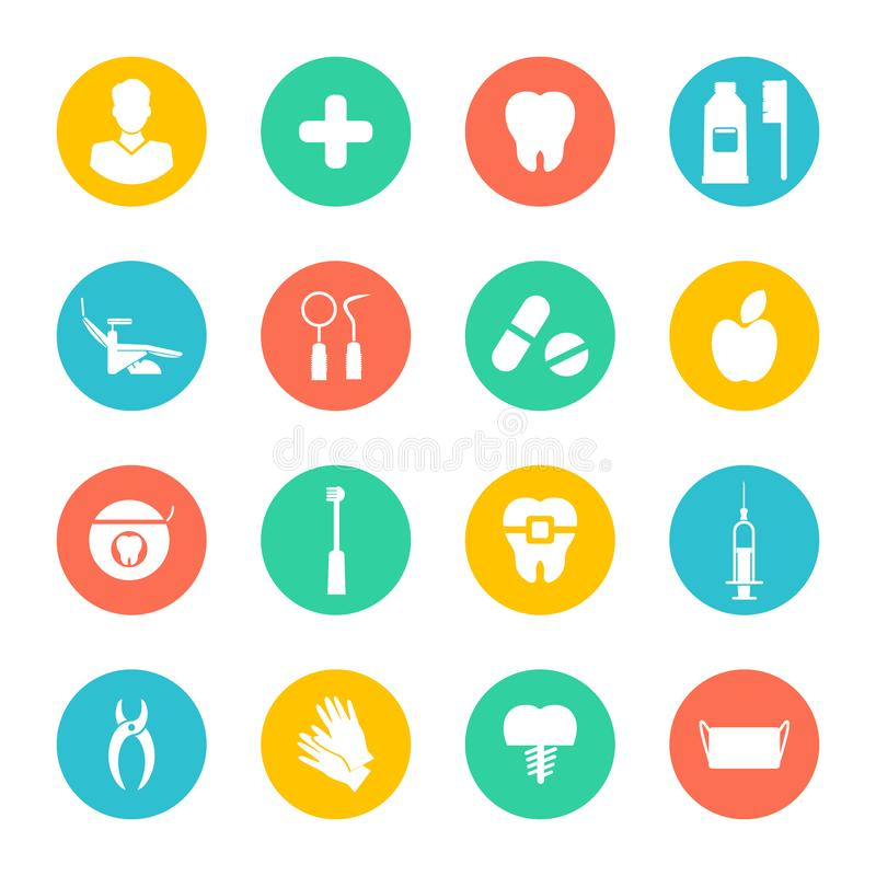 Άσπρα οδοντικά επίπεδα εικονίδια που τίθενται στους ζωηρόχρωμους κύκλους ελεύθερη απεικόνιση δικαιώματος