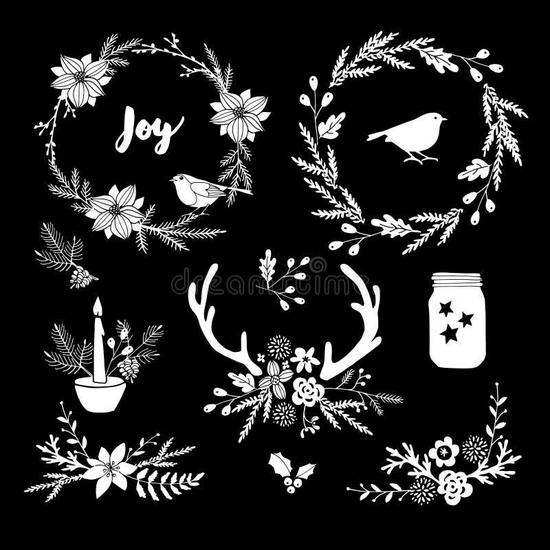 Άσπρα λουλούδια, φύλλα, στεφάνι και κλάδοι κιμωλίας Απομονωμένα floral στοιχεία Χριστουγέννων ελεύθερη απεικόνιση δικαιώματος