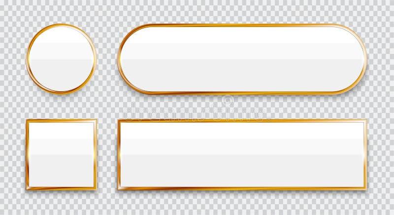 Άσπρα στιλπνά κουμπιά με τα χρυσά στοιχεία καθορισμένα απομονωμένα στο διαφανές υπόβαθρο διανυσματική απεικόνιση