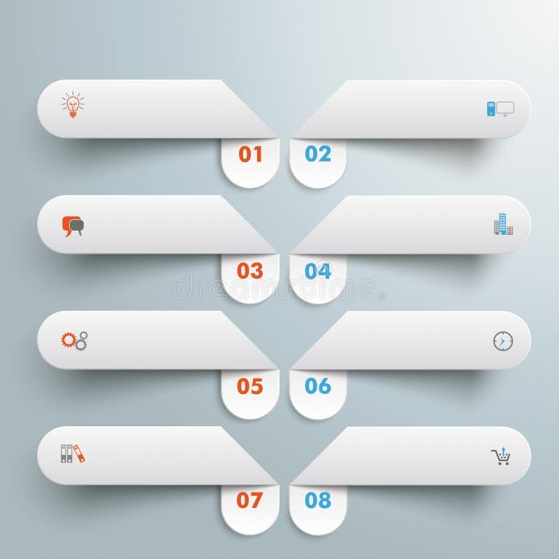 8 άσπρα στρογγυλά εμβλήματα ελεύθερη απεικόνιση δικαιώματος