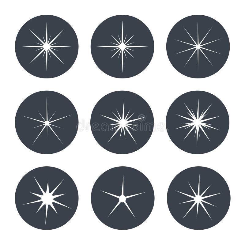 Άσπρα σύμβολα σπινθηρισμάτων στο σκοτεινό κυκλικό υπόβαθρο - το αστέρι ακτινοβολεί, αστρική φλόγα απεικόνιση αποθεμάτων