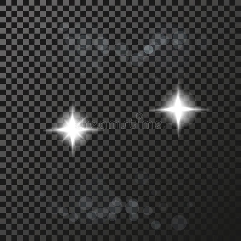 Άσπρα σύμβολα σπινθηρισμάτων στο σκοτεινό υπόβαθρο - το αστέρι ακτινοβολεί, αστρική φλόγα διαφάνειας Να λάμψει αντανακλάσεις διανυσματική απεικόνιση