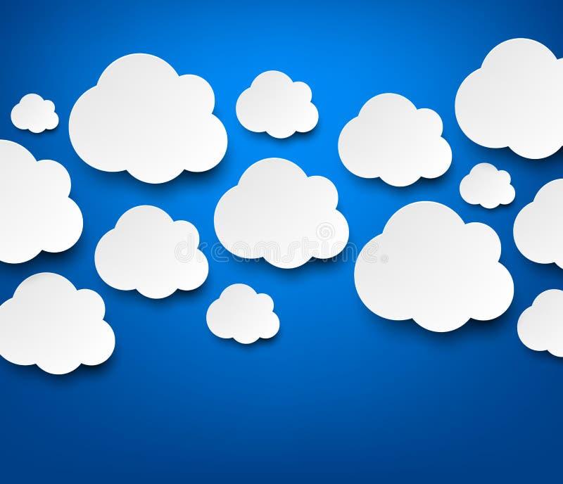 Άσπρα σύννεφα εγγράφου στο μπλε απεικόνιση αποθεμάτων