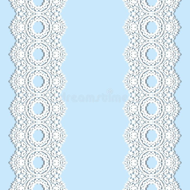 Άσπρα σύνορα δαντελλών με τη σκιά, διακοσμητικές γραμμές εγγράφου, Όνομα πινακίδων Ρομαντική γαμήλια πρόσκληση απεικόνιση αποθεμάτων