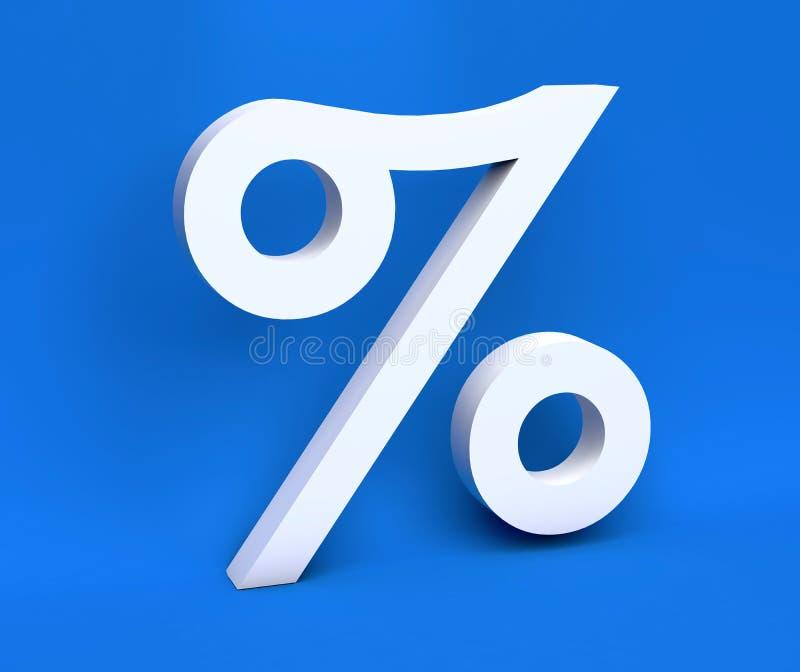 """Άσπρα τοις εκατό """"% """"συμβόλων συμβόλων άσπρα σε ένα μπλε υπόβαθρο τρισδιάστατος δώστε ελεύθερη απεικόνιση δικαιώματος"""