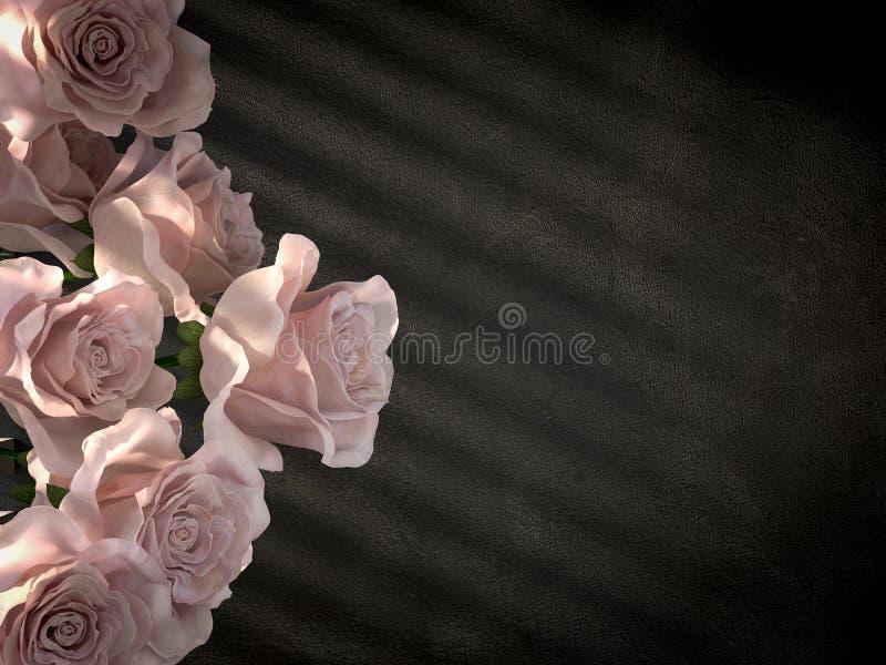 Άσπρα τριαντάφυλλα στο αρχαίο διακοσμητικό υπόβαθρο συμπαγών τοίχων στοκ φωτογραφία με δικαίωμα ελεύθερης χρήσης