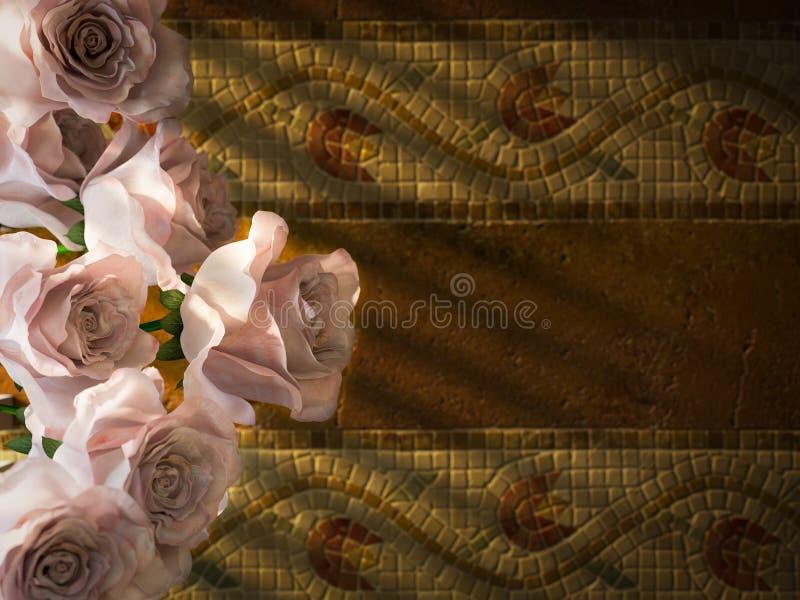 άσπρα τριαντάφυλλα στο αρχαίο διακοσμητικό υπόβαθρο τοίχων στοκ εικόνες με δικαίωμα ελεύθερης χρήσης