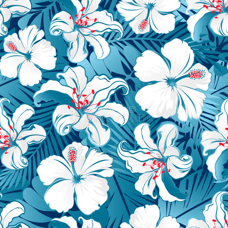 Άσπρα τροπικά hibiscus λουλούδια. ελεύθερη απεικόνιση δικαιώματος