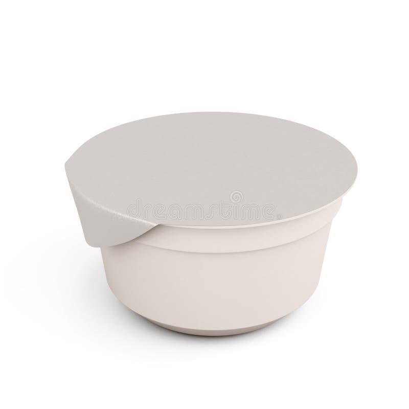 Άσπρα τρόφιμα kontener για τα γιαούρτια σε ένα λευκό απεικόνιση αποθεμάτων