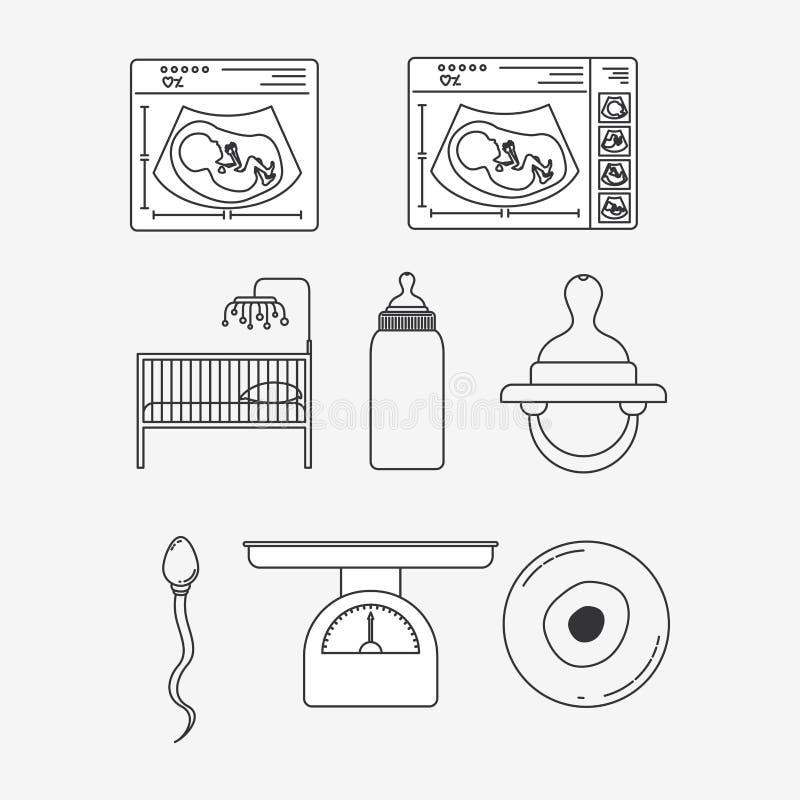 Άσπρα υποβάθρου εικονίδια εγκυμοσύνης σκιαγραφιών καθορισμένα διανυσματική απεικόνιση