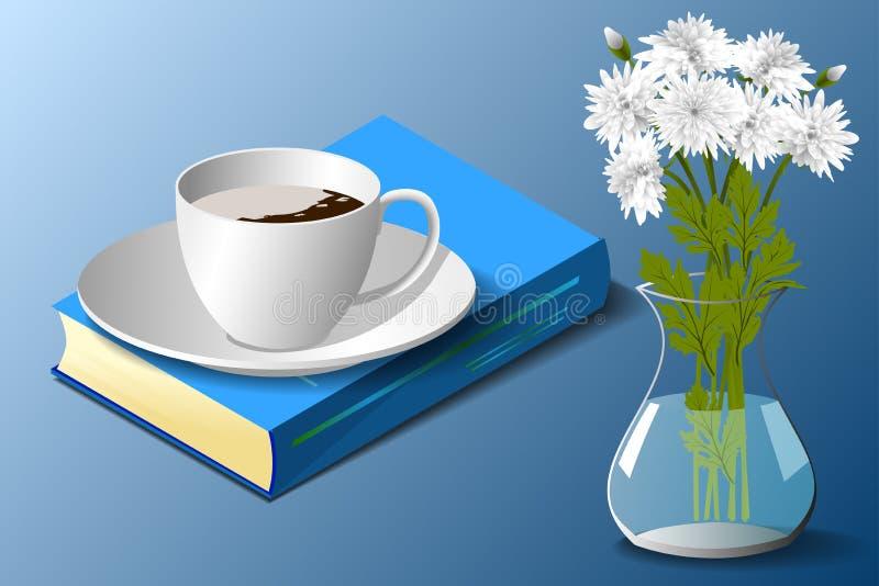 Άσπρα χρυσάνθεμα, φλυτζάνι και βιβλίο διανυσματική απεικόνιση