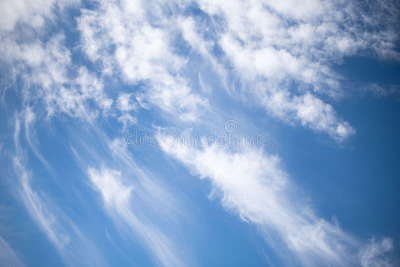 Άσπρα cirrus σύννεφα ενάντια στο μπλε ουρανό χνουδωτά σύννεφα στοκ εικόνες