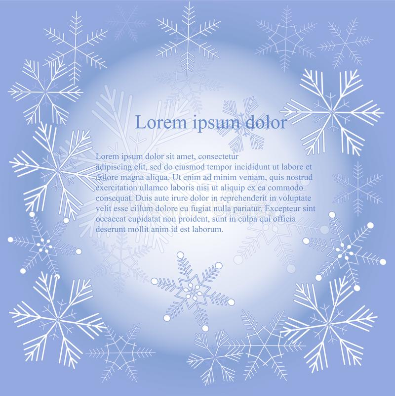 Άσπρα snowflakes στο μπλε υπόβαθρο, σύσταση, Lorem Ipsum, στοιχείο σχεδίου κλίσης απεικόνιση αποθεμάτων