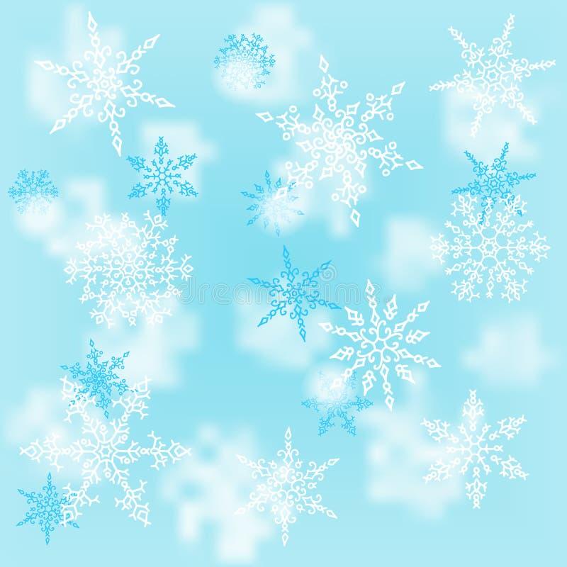 Άσπρα snowflakes Χριστουγέννων στο μπλε υπόβαθρο θαμπάδων Σχέδιο χειμερινών διακοπών χαιρετισμός καλή χρονιά καρτών του 2007 επίσ διανυσματική απεικόνιση