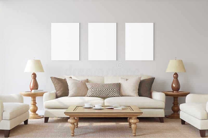 Άσπρες απομονωμένες αφίσες με το κενό πρότυπο πλαισίων στοκ εικόνα