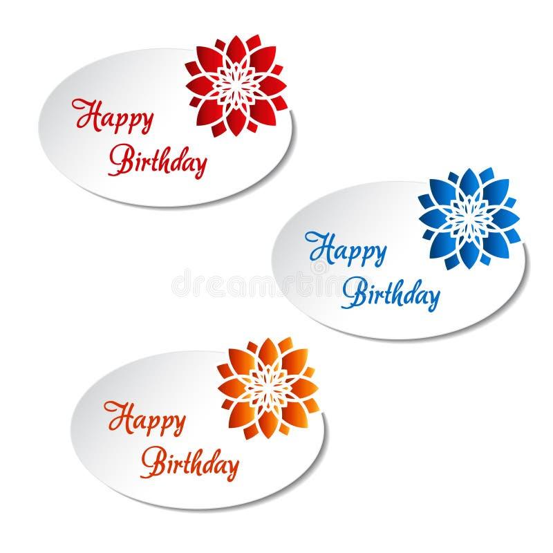 Άσπρες ετικέτες με το λουλούδι - χρόνια πολλά, κάρτα ανακοίνωσης διανυσματική απεικόνιση