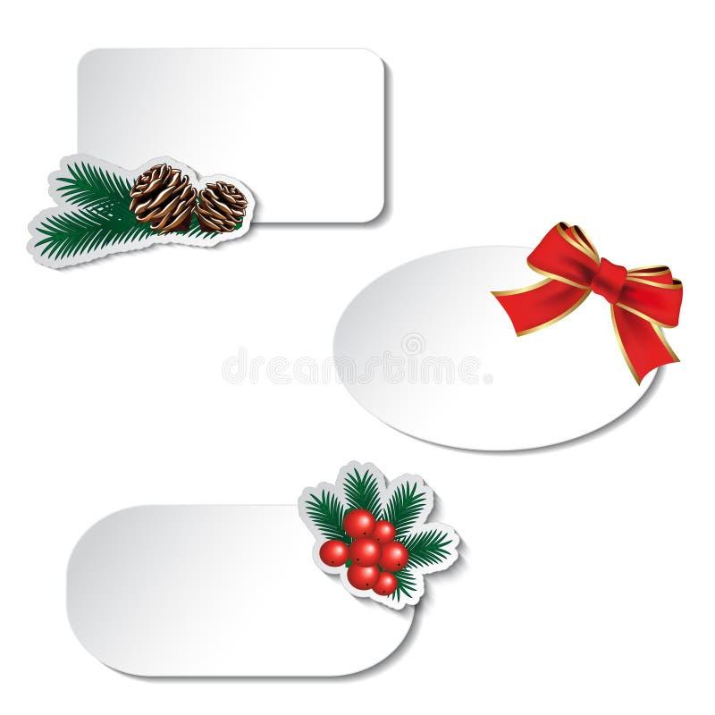 Άσπρες ετικέτες Χριστουγέννων εγγράφου με το τόξο και τον κλαδίσκο διανυσματική απεικόνιση