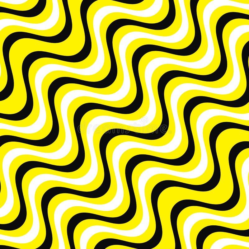Άσπρες, κίτρινες και μαύρες γραμμές κυμάτων backgorund Κίτρινο και μαύρο υπόβαθρο διανυσματικό eps10 λωρίδων διανυσματική απεικόνιση