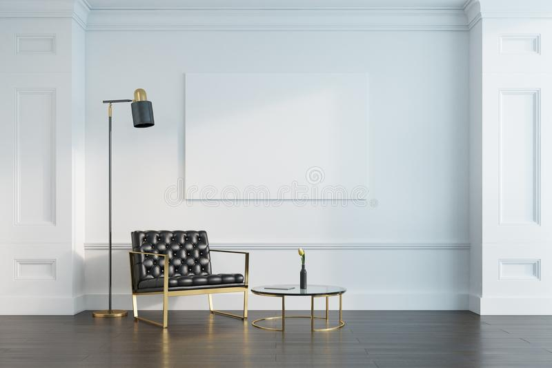 Άσπρες καθιστικό, πολυθρόνα και αφίσα στοκ εικόνες