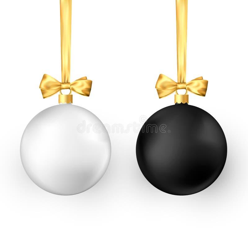 Άσπρες και μαύρες παραδοσιακές σφαίρες Χριστουγέννων διακοπών ρεαλιστικές με τη χρυσά κορδέλλα και το τόξο απεικόνιση αποθεμάτων