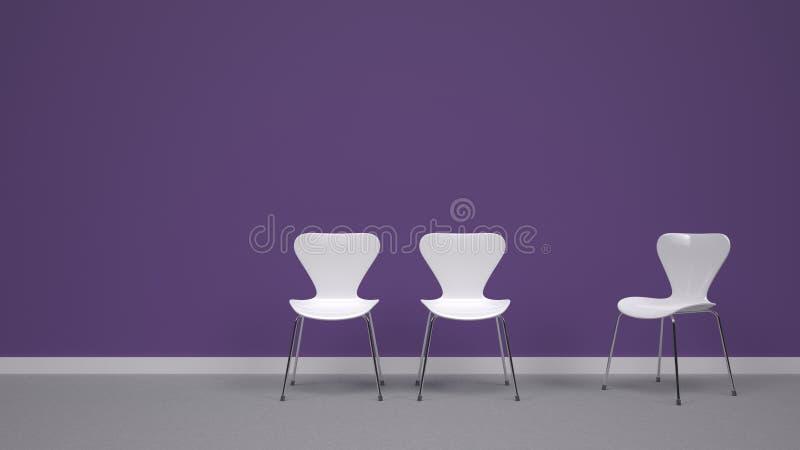 Άσπρες καρέκλες στο πορφυρό υπόβαθρο στοκ εικόνες με δικαίωμα ελεύθερης χρήσης