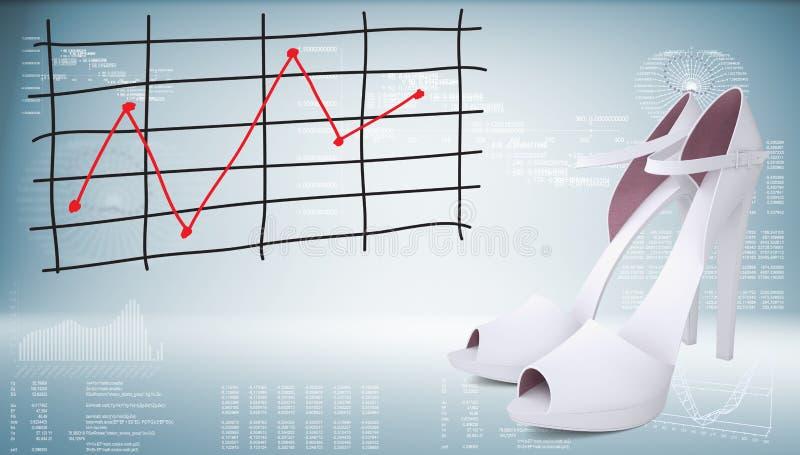 Άσπρες παπούτσια και γραφική παράσταση των μεταβολών των τιμών ελεύθερη απεικόνιση δικαιώματος