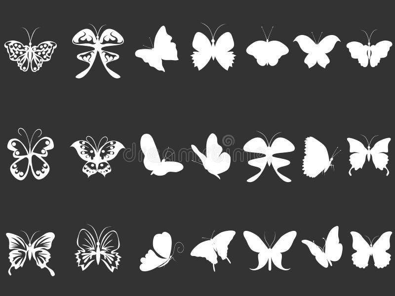 Άσπρες σκιαγραφίες πεταλούδων διανυσματική απεικόνιση