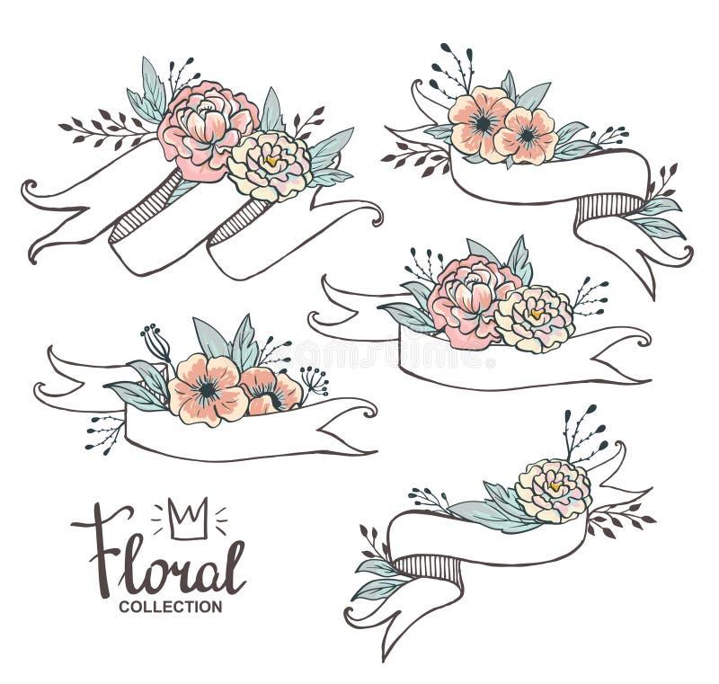 Άσπρες συρμένες χέρι κορδέλλες με τα peonys και τα τριαντάφυλλα ελεύθερη απεικόνιση δικαιώματος