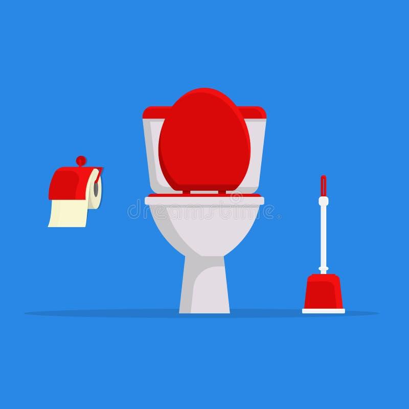 Άσπρες τουαλέτα κεραμικής, χαρτί τουαλέτας και βούρτσα τουαλετών σύγχρονη τουαλέτα που τίθεται στο επίπεδο ύφος διανυσματική απεικόνιση