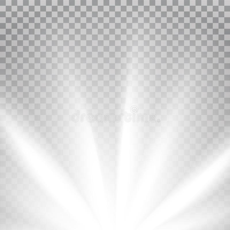 Άσπρες χρωματισμένες ακτίνες με τη φλόγα φάσματος χρώματος απεικόνιση αποθεμάτων