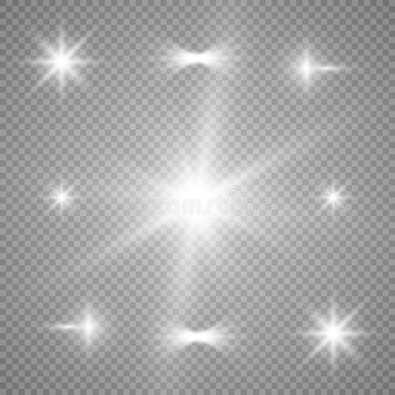 Άσπρη έκρηξη έκρηξης πυράκτωσης ελαφριά με διαφανή Διανυσματική απεικόνιση για τη δροσερή διακόσμηση επίδρασης με τα σπινθηρίσματ ελεύθερη απεικόνιση δικαιώματος