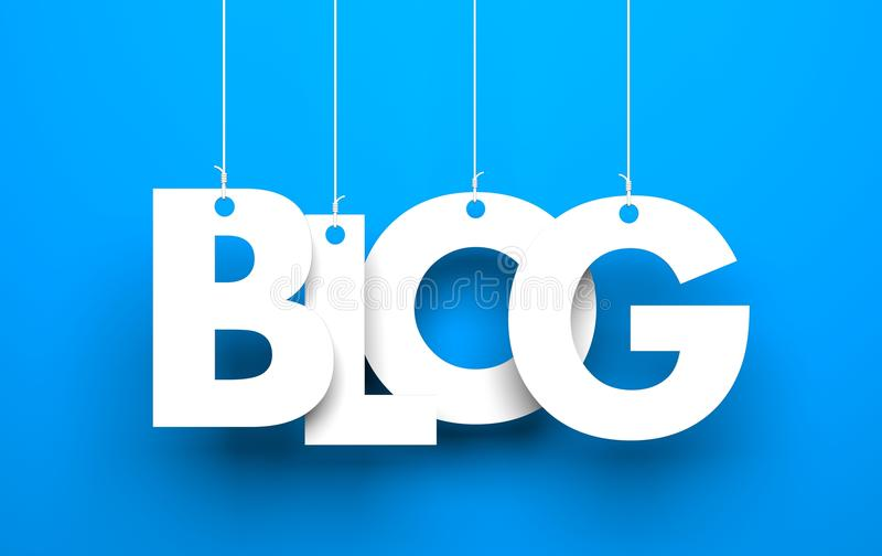 Άσπρη λέξη BLOG που αναστέλλεται από τα σχοινιά στο μπλε υπόβαθρο απεικόνιση αποθεμάτων