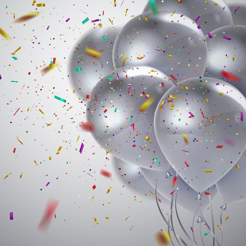 Άσπρη δέσμη μπαλονιών απεικόνιση αποθεμάτων