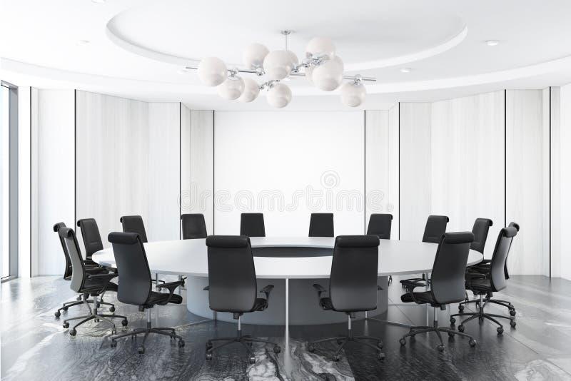 Άσπρη αίθουσα συνεδριάσεων, διάσκεψη στρογγυλής τραπέζης απεικόνιση αποθεμάτων