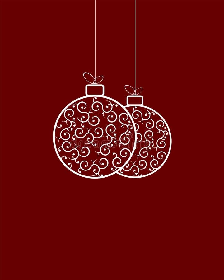 Άσπρη αναδρομική σφαίρα Χριστουγέννων δύο ελεύθερη απεικόνιση δικαιώματος